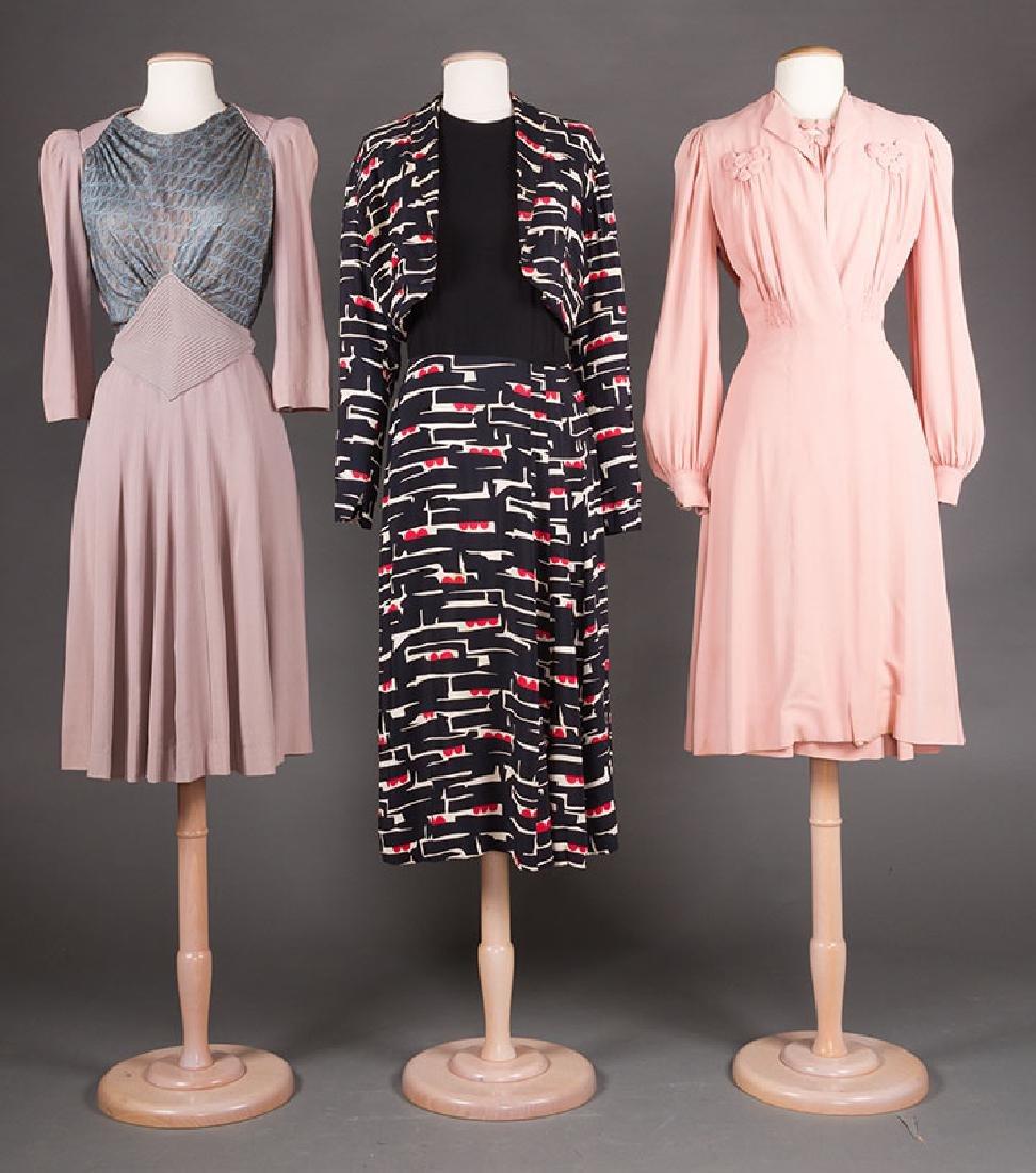 3  DAY DRESSES, 1940s