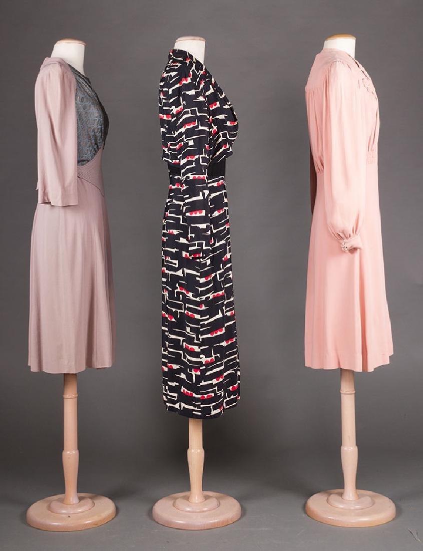 3  DAY DRESSES, 1940s - 2