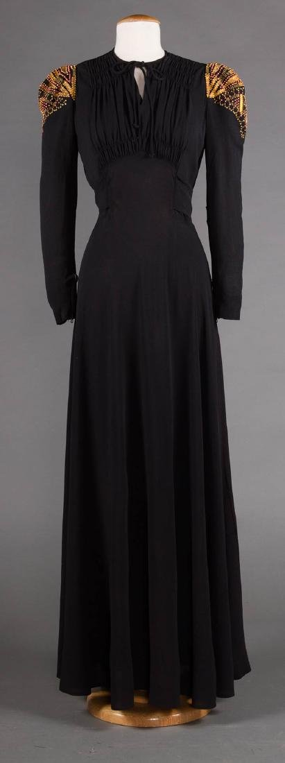GILT TRIMMED EVENING GOWN, 1940s