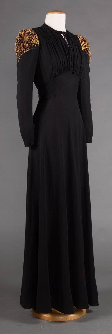 GILT TRIMMED EVENING GOWN, 1940s - 2