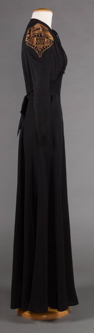 GILT TRIMMED EVENING GOWN, 1940s - 3