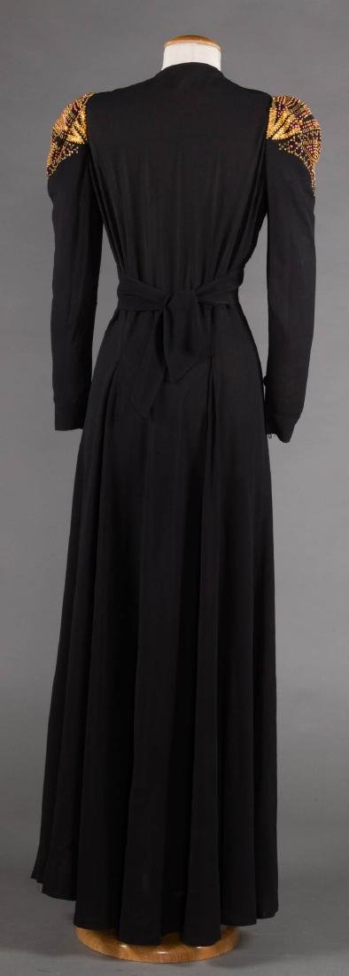 GILT TRIMMED EVENING GOWN, 1940s - 4