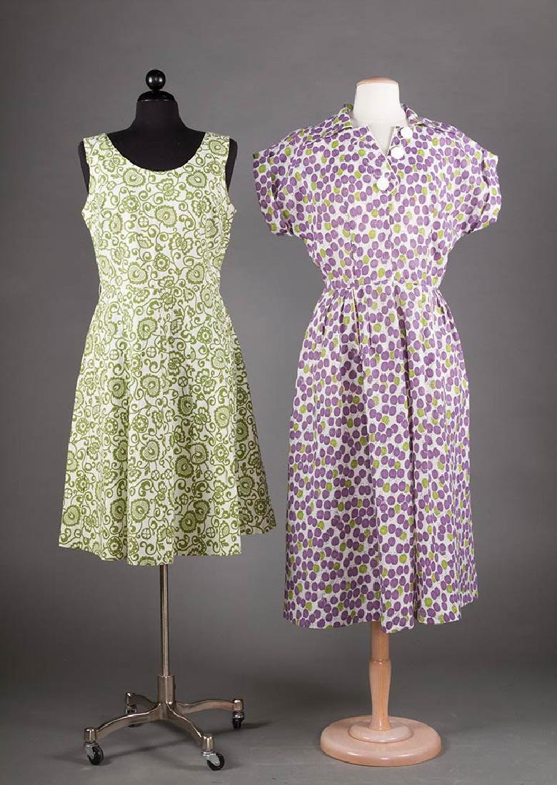 5 PRINTED SUMMER DAY DRESSES, 1950-1970 - 2