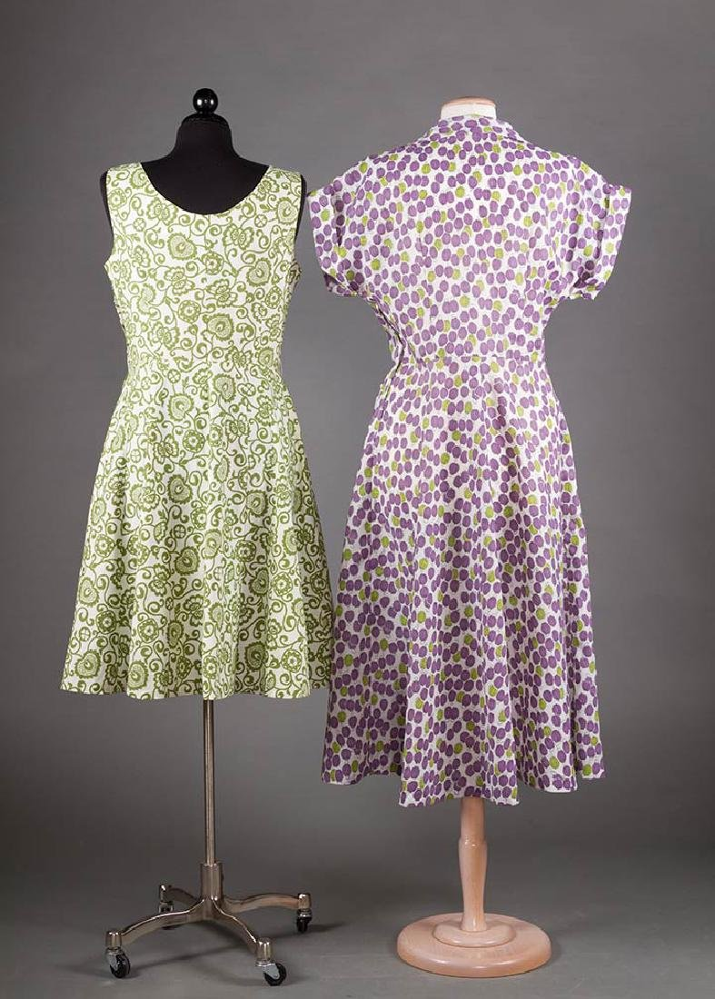5 PRINTED SUMMER DAY DRESSES, 1950-1970 - 3