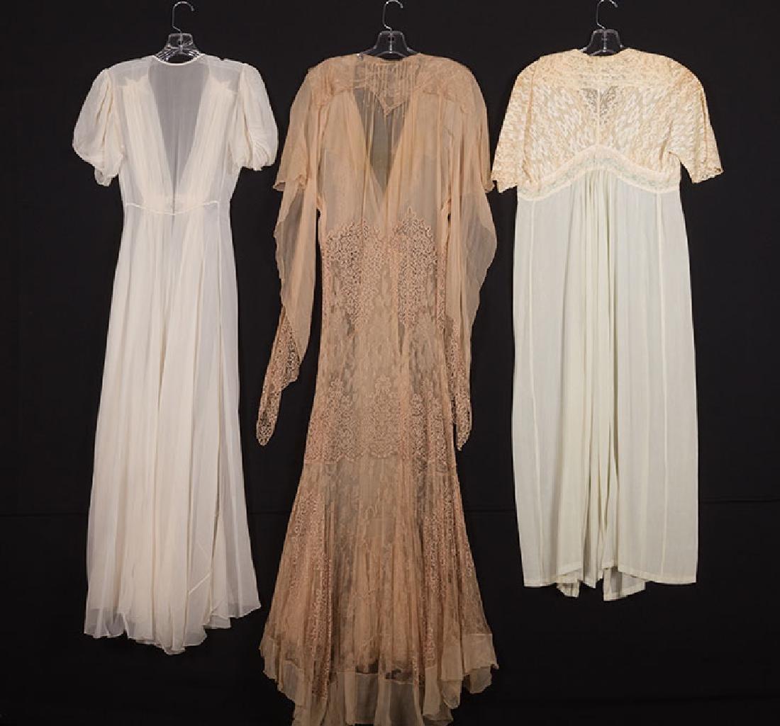 3 LACE & CHIFFON NIGHTGOWNS, 1930s - 2