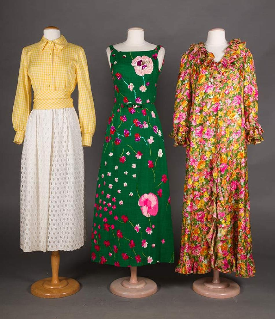 3 GREEN FLORAL DRESSES, 1970s