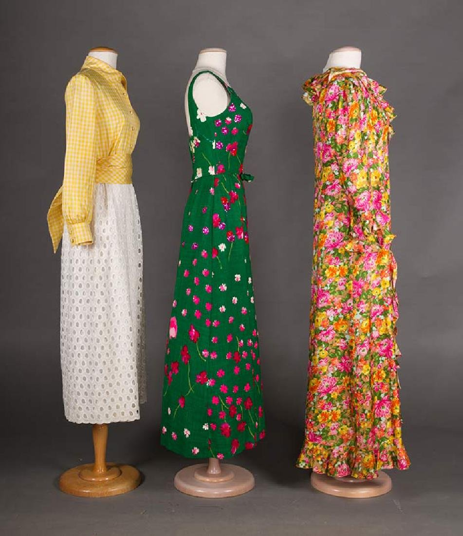 3 GREEN FLORAL DRESSES, 1970s - 2