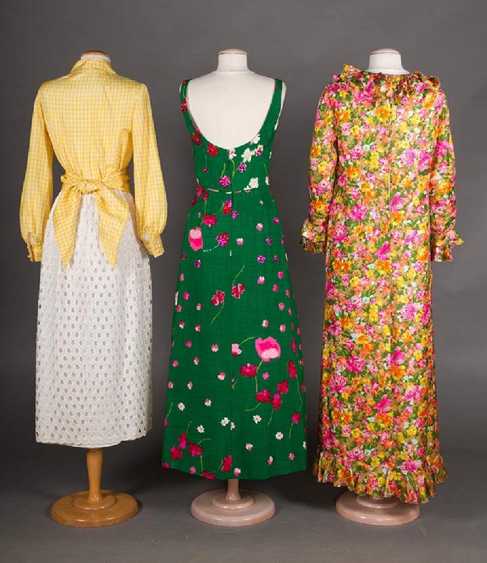 3 GREEN FLORAL DRESSES, 1970s - 3