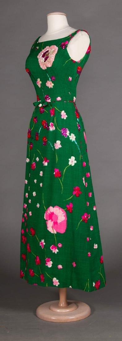 3 GREEN FLORAL DRESSES, 1970s - 4