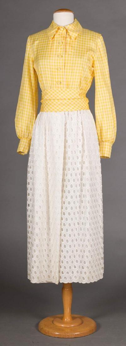 3 GREEN FLORAL DRESSES, 1970s - 5