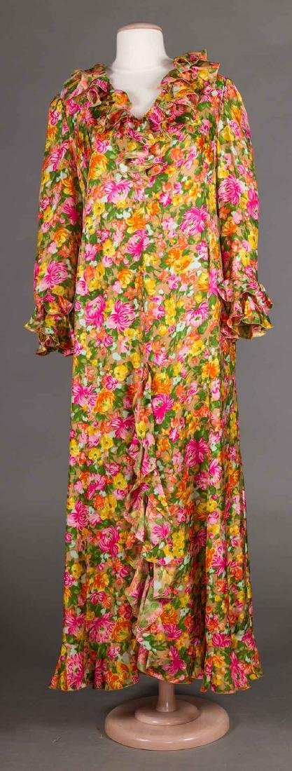 3 GREEN FLORAL DRESSES, 1970s - 6
