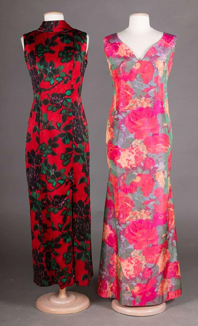 2 FLORAL SILK EVENING GOWNS, 1960s