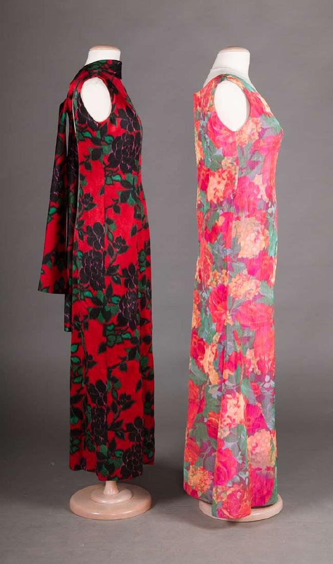 2 FLORAL SILK EVENING GOWNS, 1960s - 2
