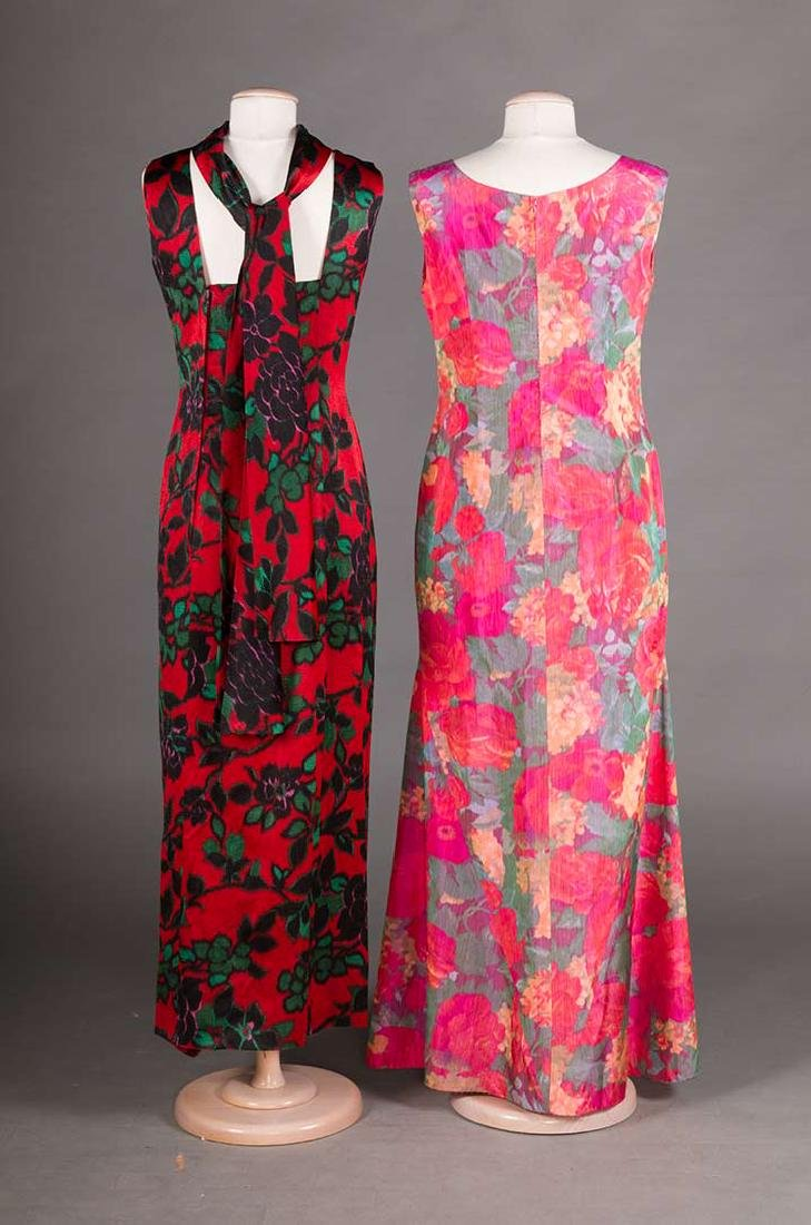 2 FLORAL SILK EVENING GOWNS, 1960s - 3