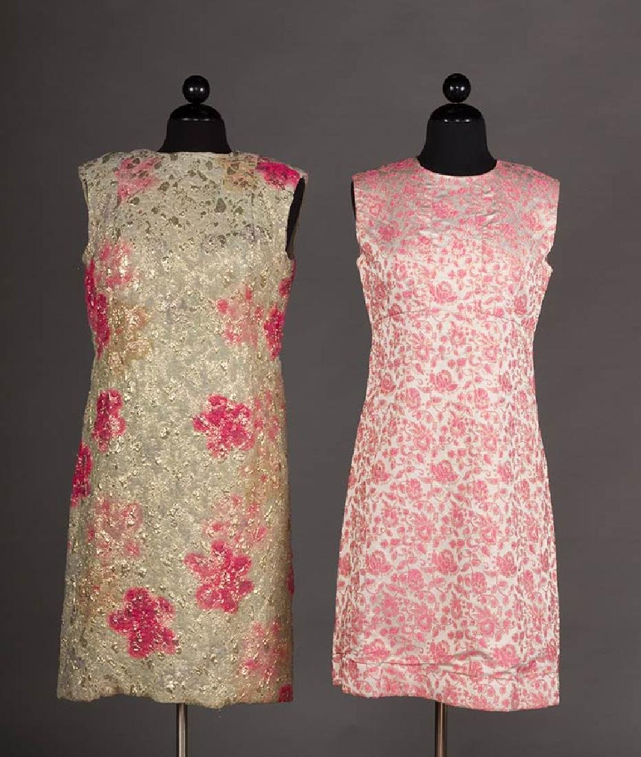 2 METALLIC LAME PARTY DRESSES, 1960s