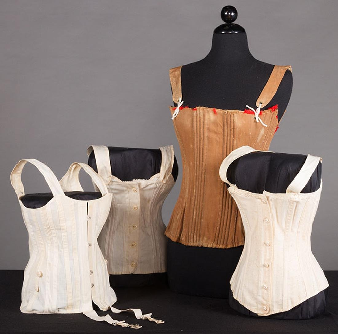 YOUNG LADY STAYS & 3 CORSETS, 19th C.