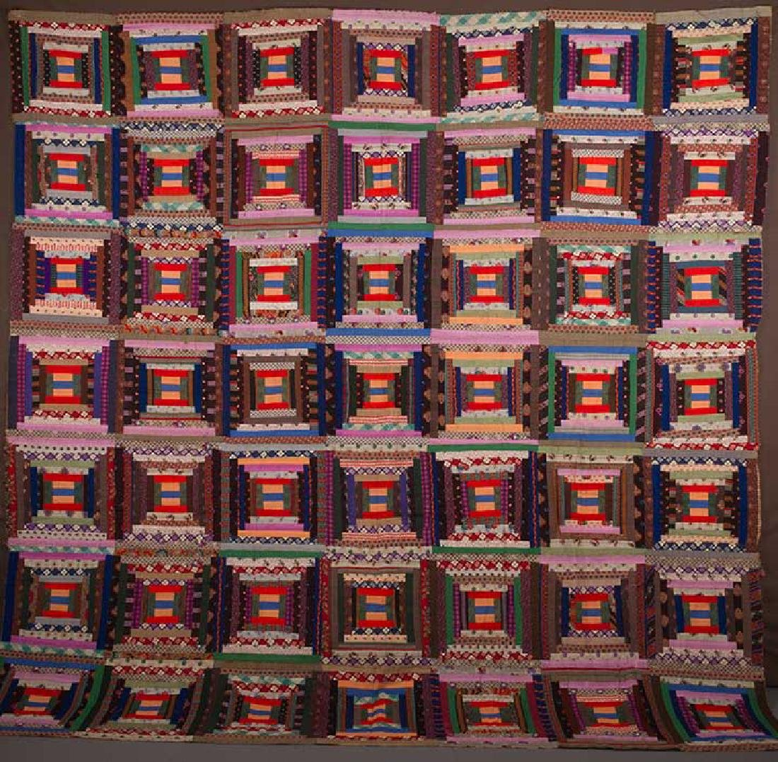 2 19th C. LOG CABIN QUILTS