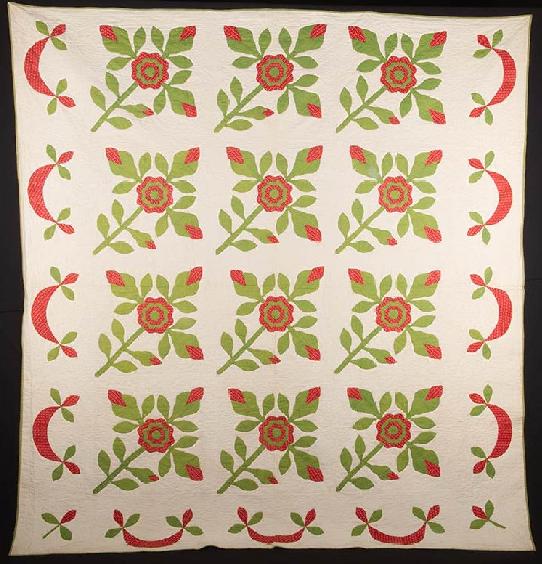 ROSE OF SHARON QUILT, 1860-1880