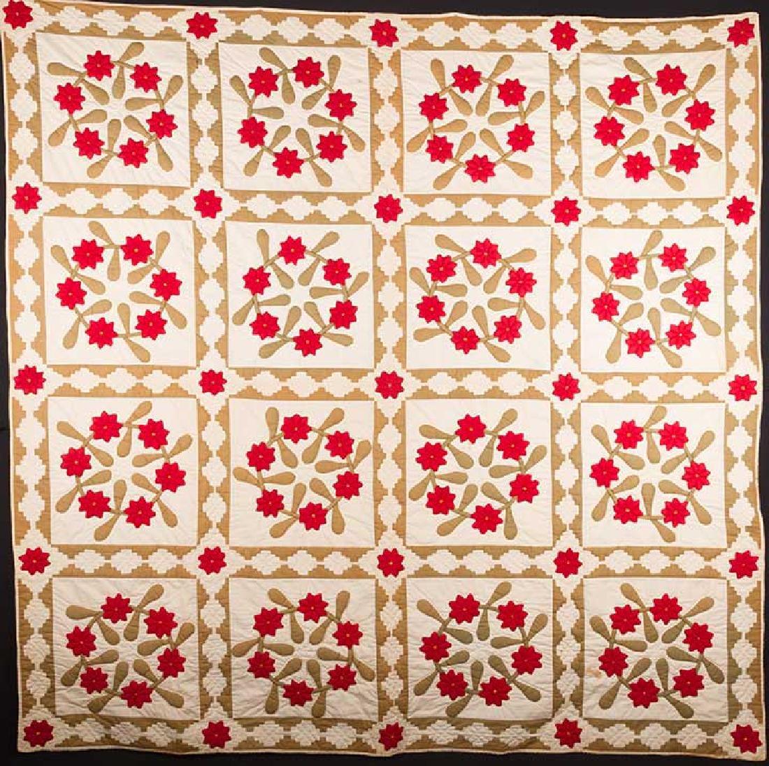 ROSE WREATH QUILT, 1890 - 1910