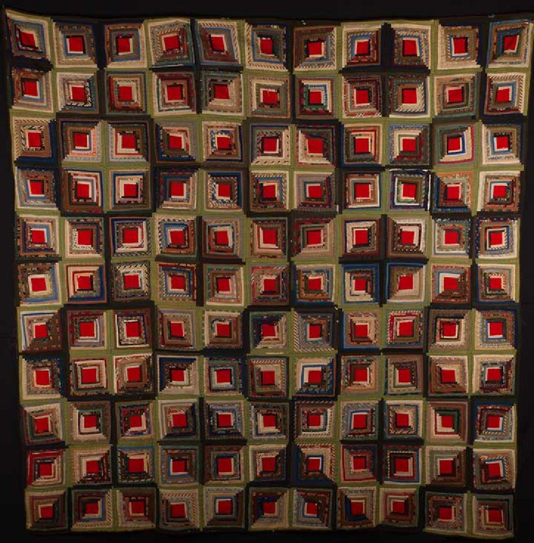 LOG CABIN QUILT, 19TH C.