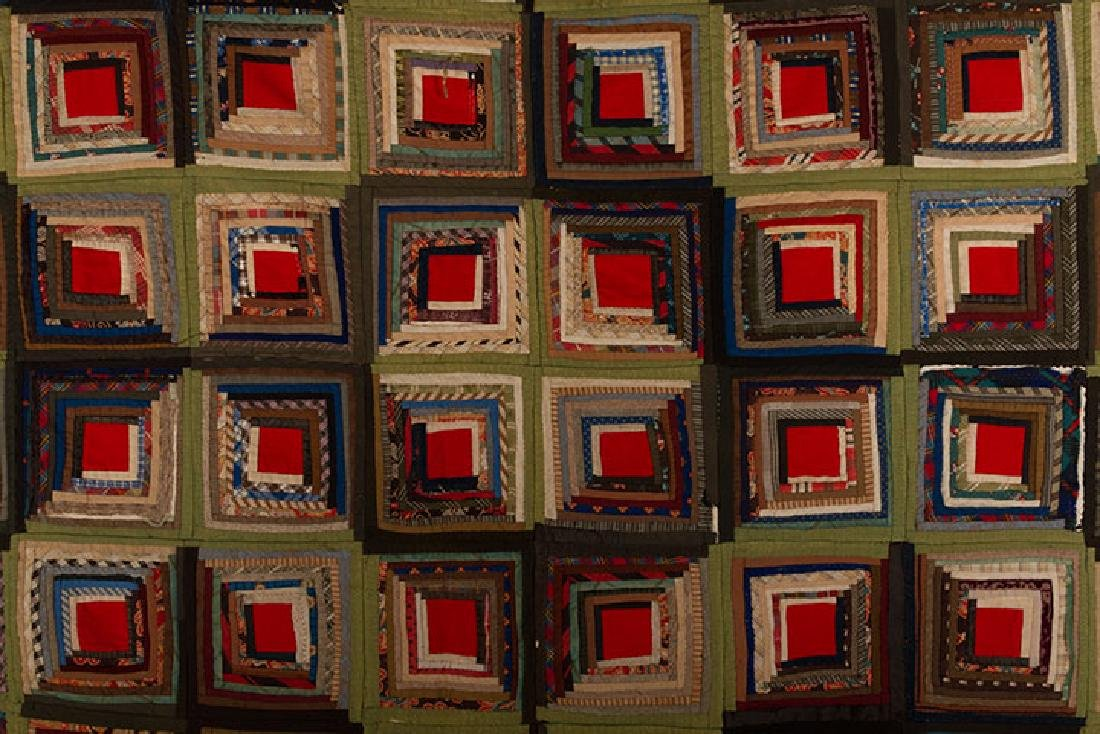LOG CABIN QUILT, 19TH C. - 2