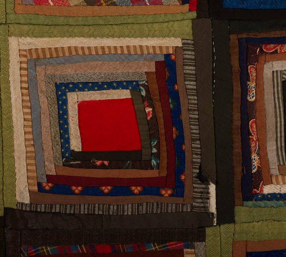 LOG CABIN QUILT, 19TH C. - 3