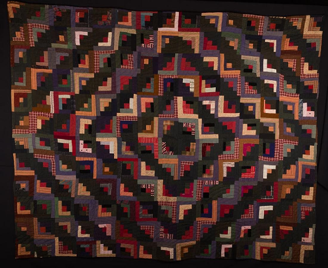 TWO AMERICAN QUILTS - AMISH & LOG CABIN, c. 1890 & 1910