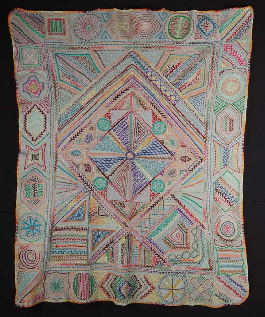 COLORFUL EMBROIDERED BLANKET, c. 1900