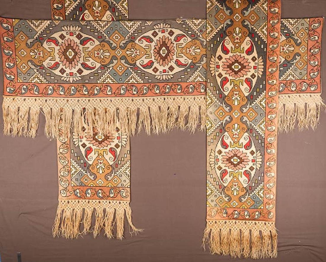 PAIR OF WOVEN DRAPES w/ VALANCE, GREECE - 3