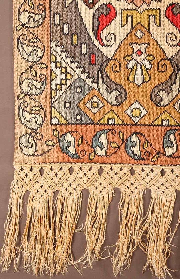 PAIR OF WOVEN DRAPES w/ VALANCE, GREECE - 4
