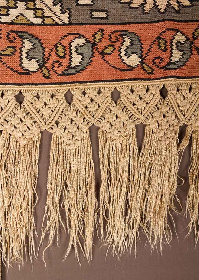 PAIR OF WOVEN DRAPES w/ VALANCE, GREECE - 5