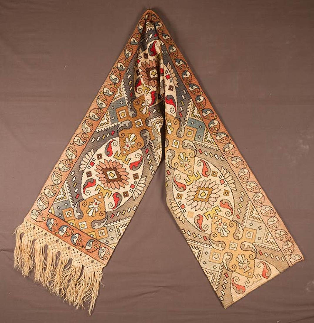 PAIR OF WOVEN DRAPES w/ VALANCE, GREECE - 8