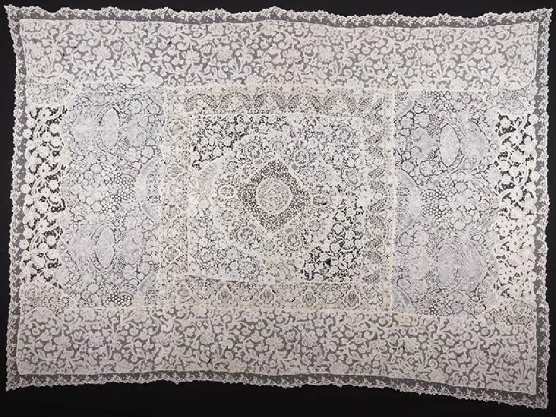HANDMADE LACE BED COVER, c. 1900