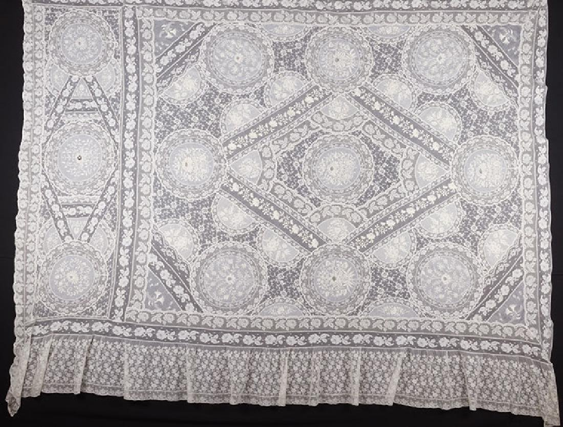 LARGE NORMANDY LACE BEDSPREAD, c. 1910
