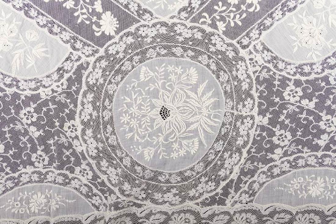 LARGE NORMANDY LACE BEDSPREAD, c. 1910 - 4