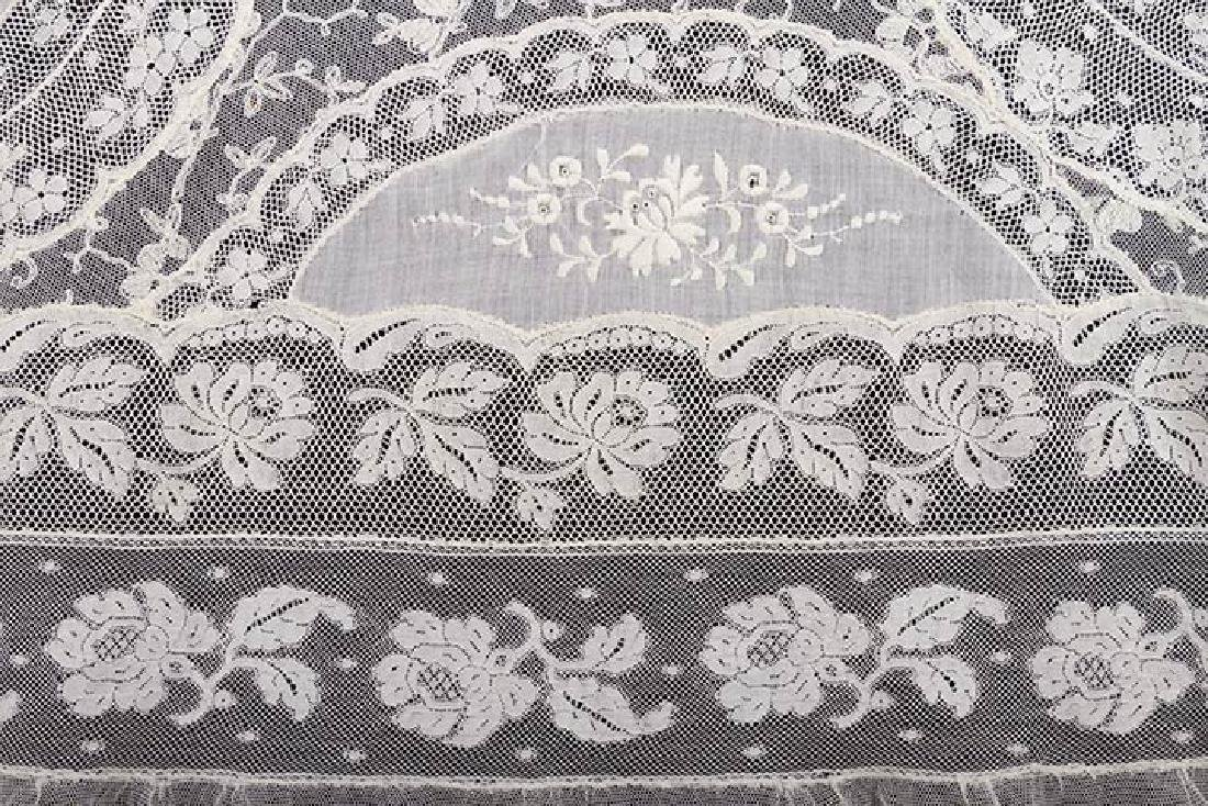 LARGE NORMANDY LACE BEDSPREAD, c. 1910 - 5