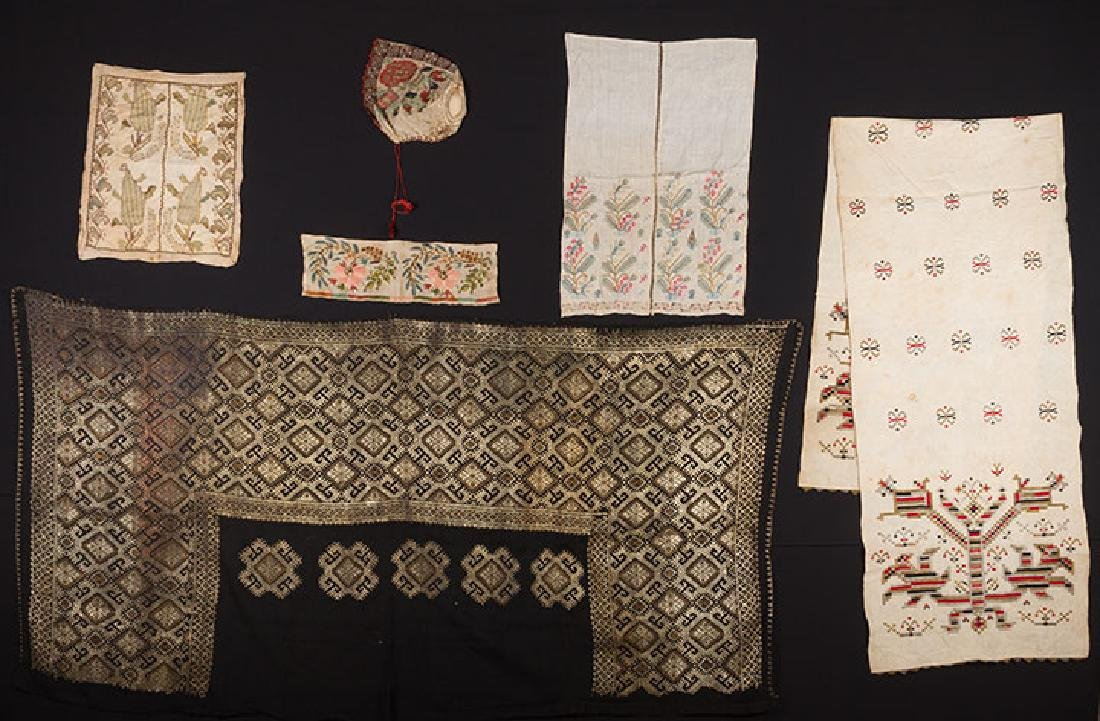 6 ETHNIC EMBROIDERED TEXTILES, 19th C.