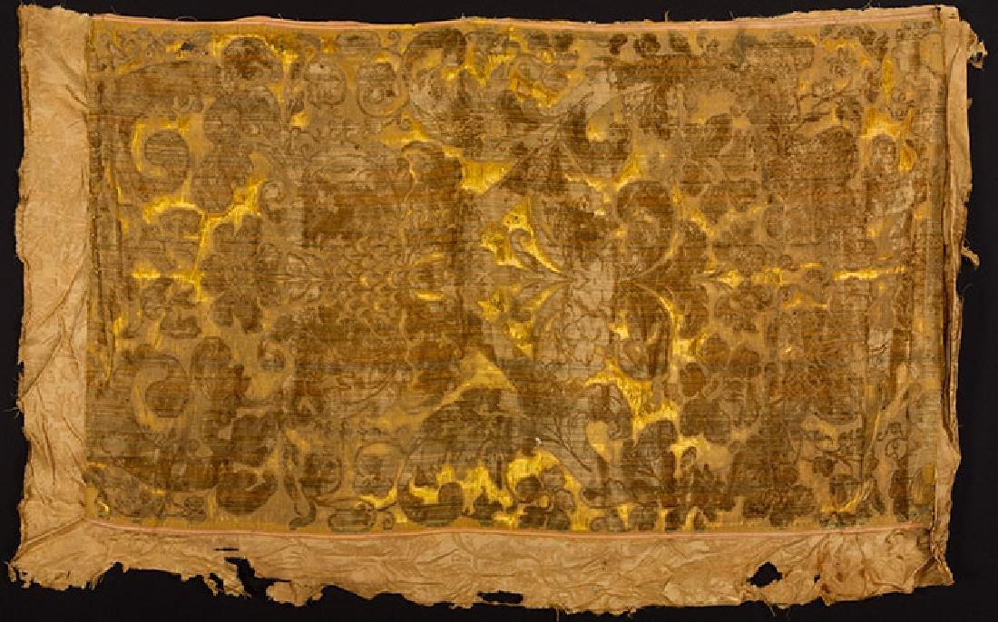 YELLOW VOIDED VELVET PANEL, ITALIAN, 1600s