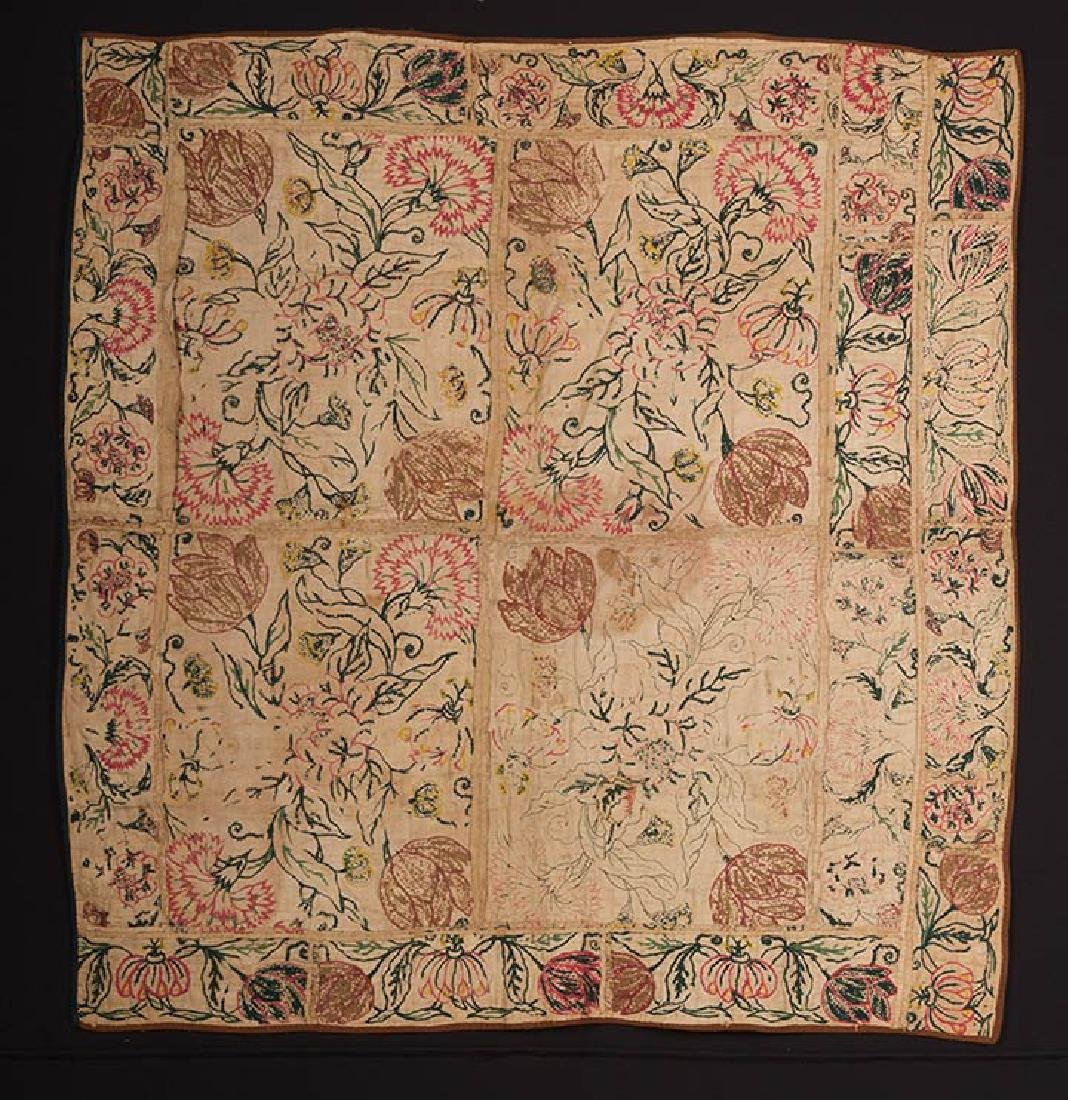 EMBROIDERED PATCHWORK PANEL, 17th -18th C. - 7