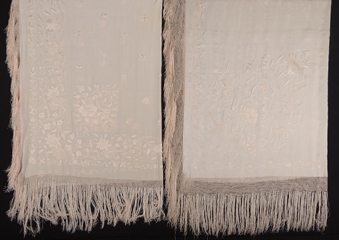 2 WHITE ON WHITE EMBROIDERED SILK SHAWLS, CANTON, c.