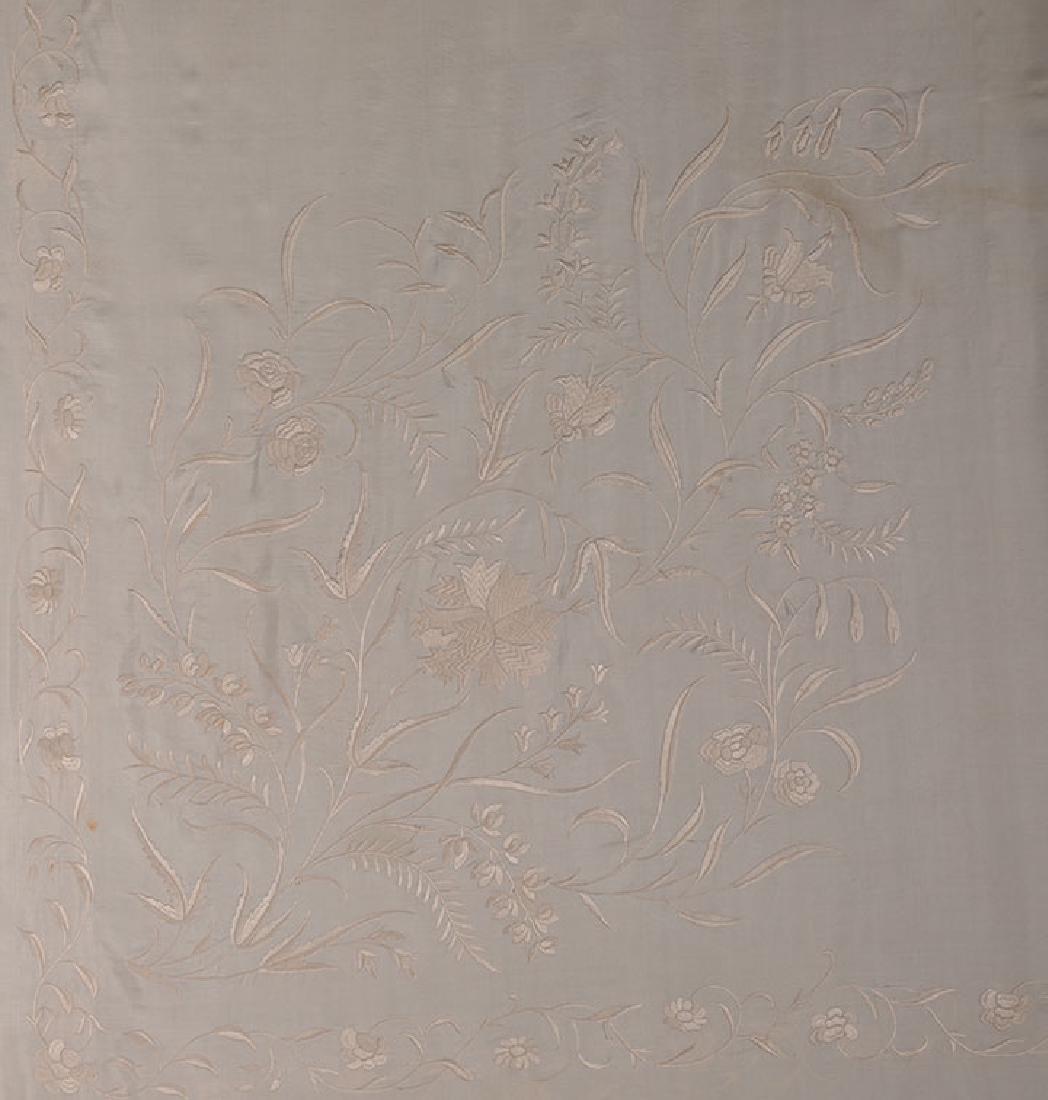 2 WHITE ON WHITE EMBROIDERED SILK SHAWLS, CANTON, c. - 2