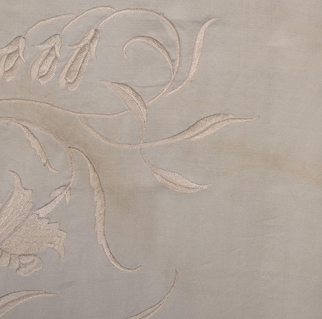 2 WHITE ON WHITE EMBROIDERED SILK SHAWLS, CANTON, c. - 5