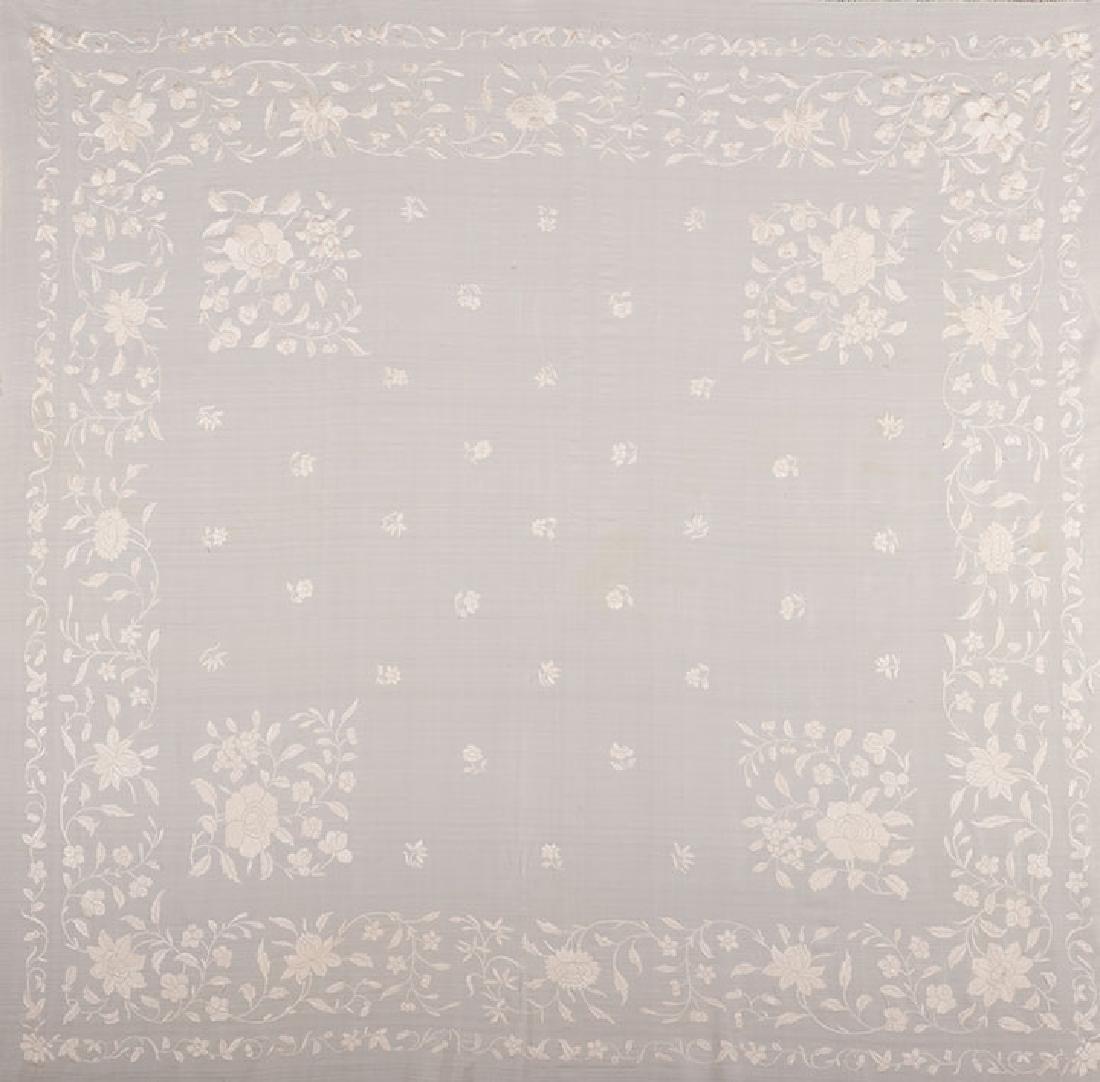 2 WHITE ON WHITE EMBROIDERED SILK SHAWLS, CANTON, c. - 7