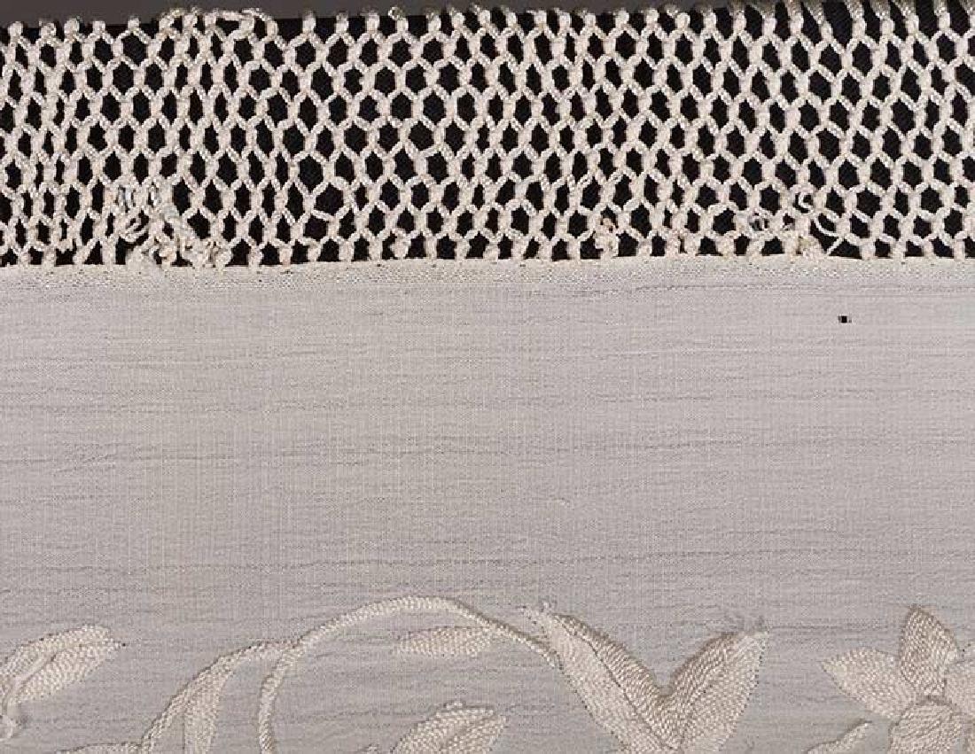 2 WHITE ON WHITE EMBROIDERED SILK SHAWLS, CANTON, c. - 8