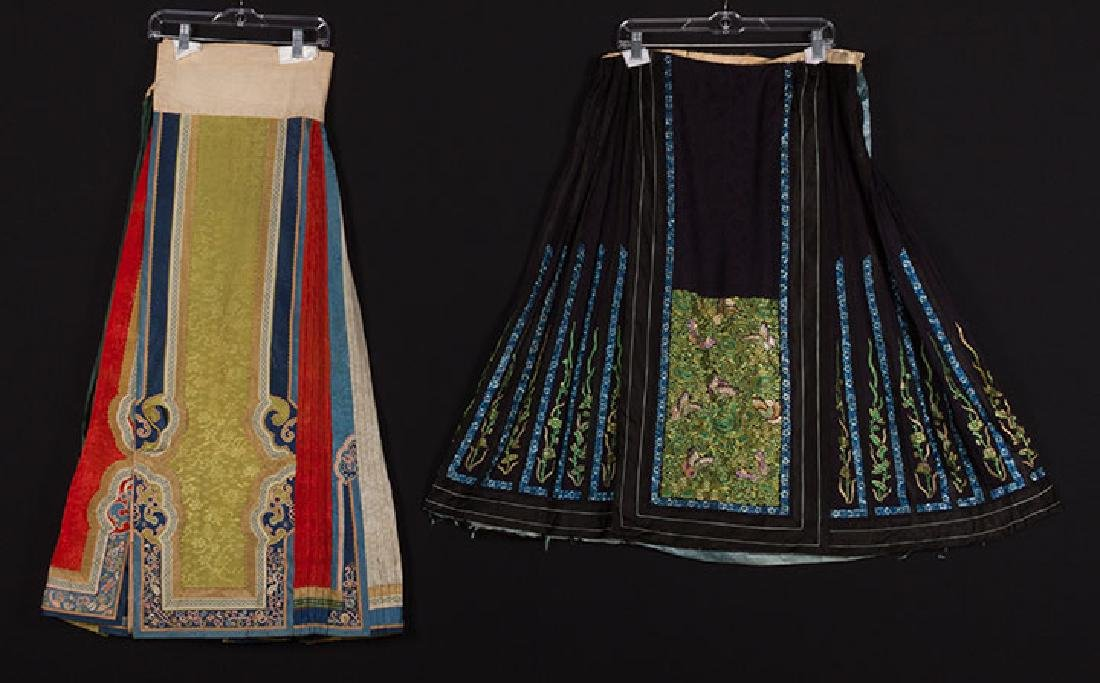 TWO EMBROIDERED SILK SKIRTS, CHINA, 1880-1920