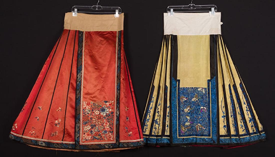 2 EMBROIDERED SILK SKIRTS, CHINA, 1880-1920
