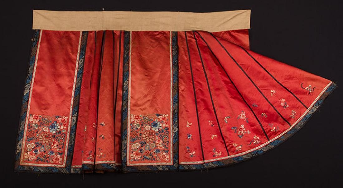 2 EMBROIDERED SILK SKIRTS, CHINA, 1880-1920 - 6