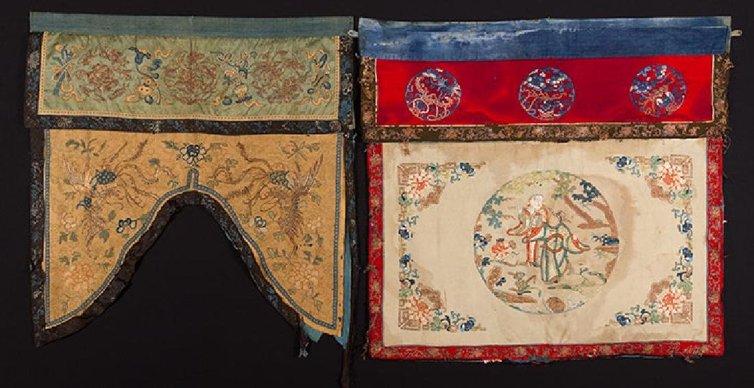 2 HANGING CHINESE BANNERS, 19th C.