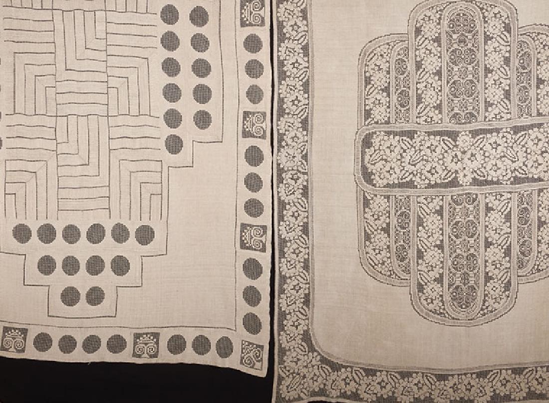 2 LINEN TABLECLOTHS, ART DECO, EARLY 20TH C.