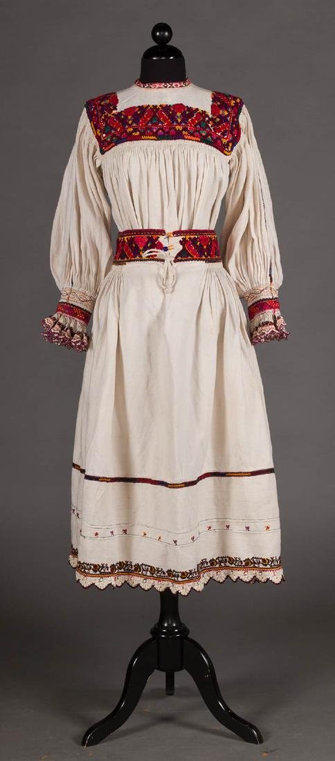RED EMBROIDERED SKIRT & TOP, c. 1900